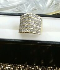 NEW HUGE 5ROW 18K YELLOW GOLD STERLING SILVER 1 1/2 1.5 CARAT DIAMOND RING$1100