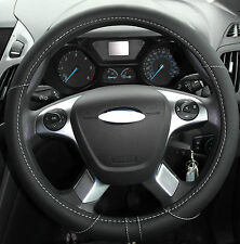 BLACK PU LEATHER LOOK UNIVERSAL CAR/VAN STEERING WHEEL COVER/GLOVE/PROTECTOR 325