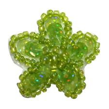 ID 8886 Green Flower Petal Garden Nature Plant Beaded Iron On Applique Patch