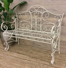 PROVINCIAL GARDEN BENCH SEAT CHAIR OUTDOOR IRON METAL 2 SEATER FURNITURE WHITE