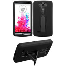 Blk 2-Layer V Stand Case LG D725 LS885 D722 D722K D724 D728 G3 Vigor S Mini Beat