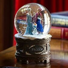 New Disney Store Frozen Elsa Anna Olaf Musical Snow Globe Plays Let it Go NIB