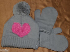 *NEW Capelli Kids Gray Pink Heart Beanie Hat Mittens Set size 6-12 MO
