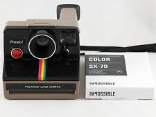 Vintage Polaroid Presto SX-70 Rainbow Stripe Instant Camera with Film TESTED