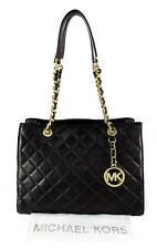 MICHAEL KORS SUSANNAH Black Quilted Leather LG Shoulder Tote Bag Msrp $398.00