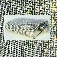 Super BLING Crystal Clear Rhinestone 6oz Stainless Steel Hip Flask w/ Funnel
