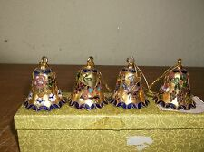 Set of 4 RARE Lillian Vernon Vintage Chinese Cloisonne Bell MINT IN BOX