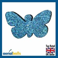Blue Glitter Butterfly Car Aerial Antenna Ball Topper