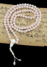 Mala tibetain collier rosaire Perles en Quartz Rose 6.5 mm -560 -CB3B