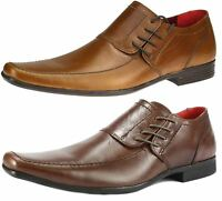 Red Tape Cherwell Mens Tan Brown Leather Side Lace Formal Monk Square Shoes
