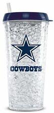 Dallas Cowboys Crystal Freezer Tumbler with Straw - 16oz [NEW] NFL Cup Mug