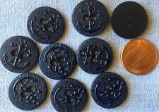 """8 Very Very Dark Navy Blue Plastic Buttons Anchor Nautical 3/4"""" 19mm # 7574"""