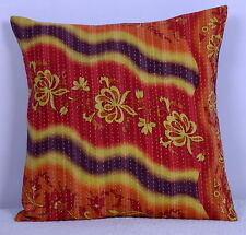 """Pure Cotton Vintage Kantha Cushion Cover Ethnic Multicolor Pillow Case India 16"""""""