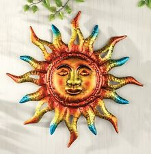 Sun Face Rays Bronze Gold Blue Metal Wall Art Hanging Patio Fence Home Decor