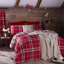 EDINBURGH KING SIZE RED TARTAN PLAID REVERSIBLE COTTON DUVET SET QUILT COVER