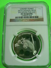 CANADA 10 DOLLARS 2015 LOONEY TUNES SYLVESTER THE CAT NGC PF-70 FINE SILVER COIN