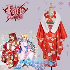 Fate Zero Stay Night Tohsaka Rin Cosplay Costume Red Printed Kimono Custom