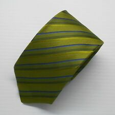 NEW $145 Paul Smith Tie Green with Blue Stripes 100% Silk Made in Italy