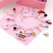 Silver Plated 13 Crystal Charm Bracelet for Kid Teen Girls Women Fashion Jewelry