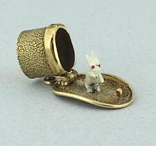 Very Rare Solid 14k Yellow Gold and Enamel Magic Rabbit in the Hat Charm!