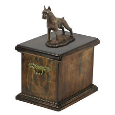 Solid Wood Casket Boxer Croped Memorial Urn for Dog's ashes,with Dog statue.