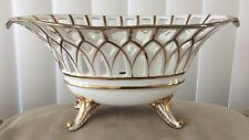 "Antique Old Paris Gold Reticulated Centerpiece 4 Legged Oval Compote Bowl 10.5""w"