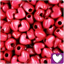 50 Red Pearl Heart Shape 12mm Pony Beads