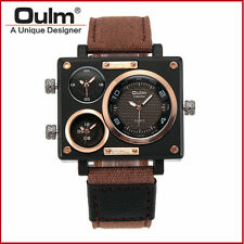Men's Oulm 3 Time Zone Movement Leather Square Dial Quartz Dress Wrist Watch NEW
