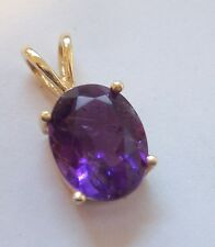 14K SOLID GOLD GENUINE OVAL AMETHYST PENDANT 10MM X 8MM IN RABBIT EAR MOUNTING