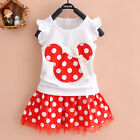 Kids Baby Girls Summer Cartoon Minnie Mouse Polka Dot Party Vest Dress Top 2-3 Y