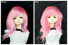 """1/3 8-9"""" BJD SD DZ DOD LUTS Recurlable Doll Wig Pink Straight w/ Bangs (Virgo)"""
