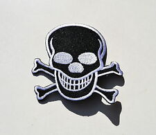Skull & Crossbones Black,, parche, Patch, badge, aufbügler, Iron On,