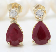 3.71CTW Natural Red Ruby & Diamond in 14K Solid Yellow Gold Stud Earrings