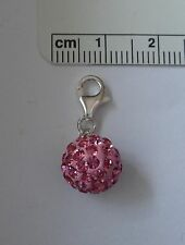 Sterling Silver 10mm Pink Crystals Solid Puffy Round Ball Charm w/ Balloon clasp