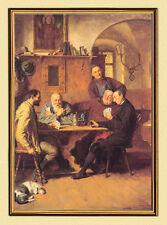 E.T. Ritter GRÜTZNER KARTENSPIELER um 1883 MÖNCH AUF LEINWAND 3 im Goldrahmen