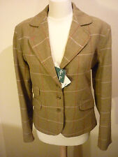 Nouveau ALAN PAINE tweed hacking show pays veste blazer uk 16 marron carreaux rouges