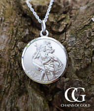 Sterling Silver Men's St Christopher Pendant Necklace 20""