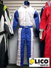 Sparco/Lico Racing Suit Blue/White  Size XXX-Small 46   SFI and FIA Rated   New