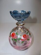 Vintage Italian CRYSTAL Perfume Bottle Hand Painted ROSES Gold Gilt FLOWER NIB