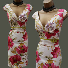 Karen Millen Rare Floral Garden Print Satin Galaxy Cocktail Wiggle Dress 12 UK