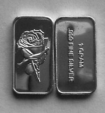 (50) 1 GRAM 0.999+ PURE SILVER ROSE BARS
