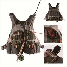 Multi pocket Fly Fishing Backpack Chest Vest Back Pack Outdoor Size Adjustable