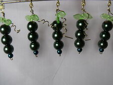 SET 5 GREEN GLASS BEAD CHANDELIER GARLAND HANGING FRUIT CZECH GLASS LEAVES