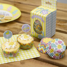 100 CUPCAKE MUFFIN CASES HAPPY EASTER Yellow Tea Party Bun Case
