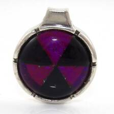 Sterling Silver Purple Black Glass Kaleidoscope Wheel Round Pendant