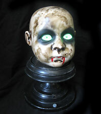 Scary Baby Doll Head on Stand Creepy Music Lighted Haunted House Halloween Prop