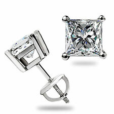 2 ct Princess Cut Solitaire Stud Earrings Solid 14k White Gold Lab Diamond