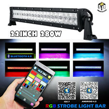 "22INCH 280W LED Light Bar RGB Offroad Bluetooth Disco Strobe Flash PK 12"" 72W 4"""