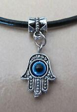 Hamsa Fatima Hand Evil Eye Pendant Necklace Silver Alloy W/ 20 Inch Leather Cord