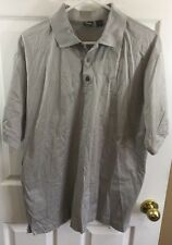 Hugo Boss Golf Made In Italy Collared Shirt Gray Short Sleeve Medium 100% Cotton